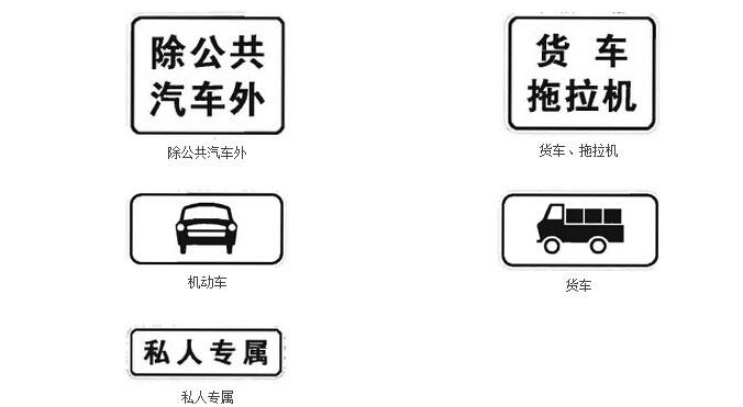 辅助标志之表示时间表示车辆种类、属性