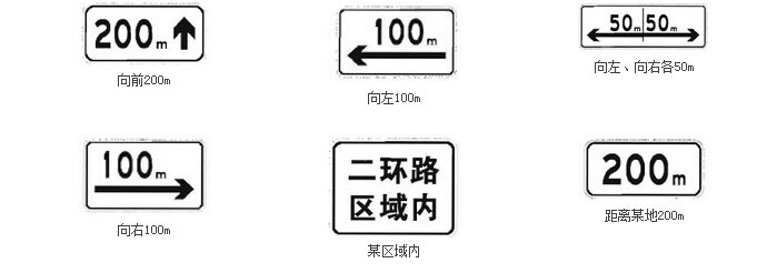 辅助标志之表示区域或距离