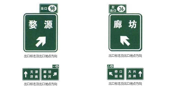 路径指引标志之出口标志及出口地点方向标志