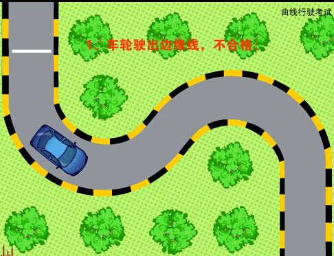 科目二五项考试之路考动态模拟--曲线行驶(flash示范)