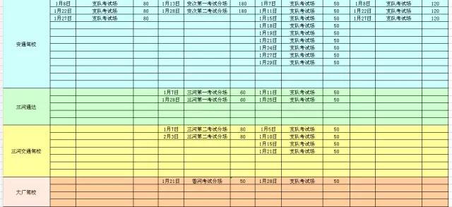 廊坊市车管所2016年1月份考试计划列表-(3)