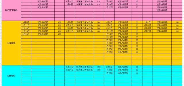 廊坊市车管所2016年1月份考试计划列表-(4)