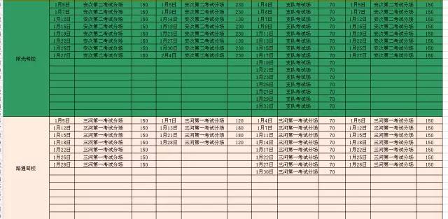 廊坊市车管所2016年1月份考试计划列表-(7)