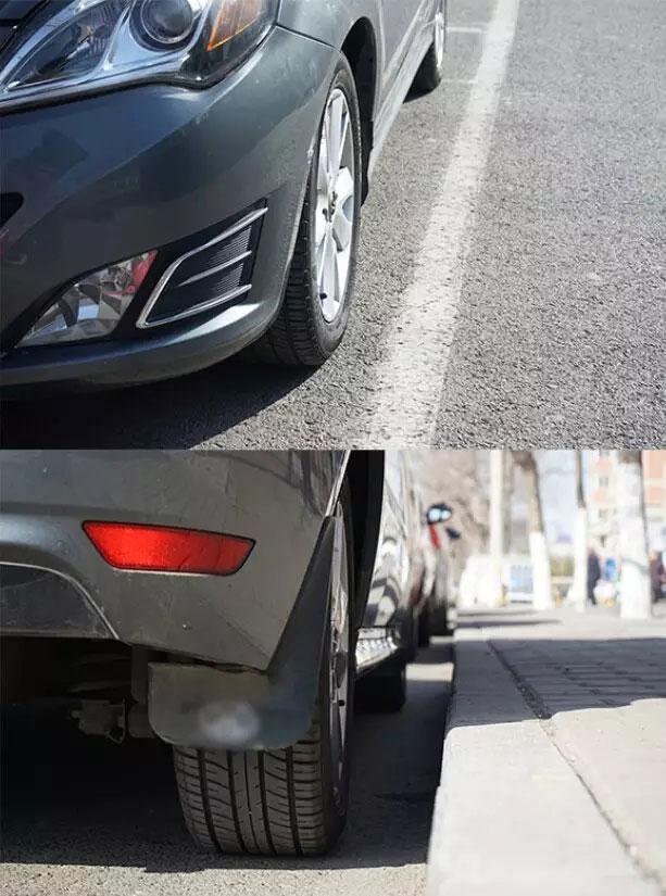 下车观察停车位置,与路边距离