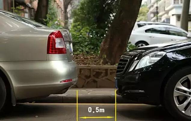 此时与前车的距离大概是0.5米二