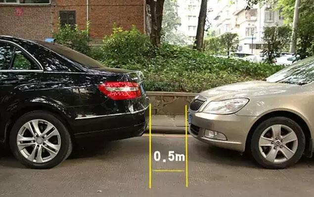 后视镜中刚好能看见后车挡风玻璃,此时与后车的距离大概还剩0-(2)